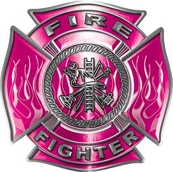Fire Fighter Maltese Cross Decal with Flames in Pink