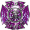 Fire Fighter Maltese Cross Decal with Flames in Purple