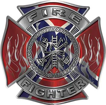 Fire Fighter Maltese Cross Decal with Flames with Confederate Rebel Flag