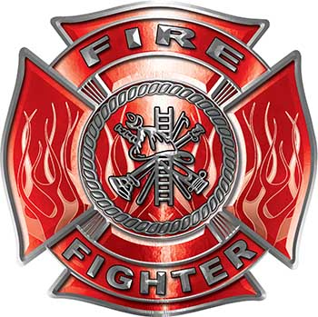 Fire Fighter Maltese Cross Decal with Flames in Red