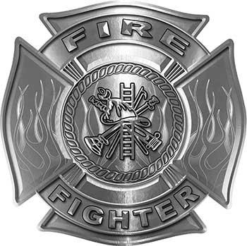 Fire Fighter Maltese Cross Decal with Flames in Silver
