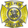 Fire Fighter Maltese Cross Decal with Flames in Yellow