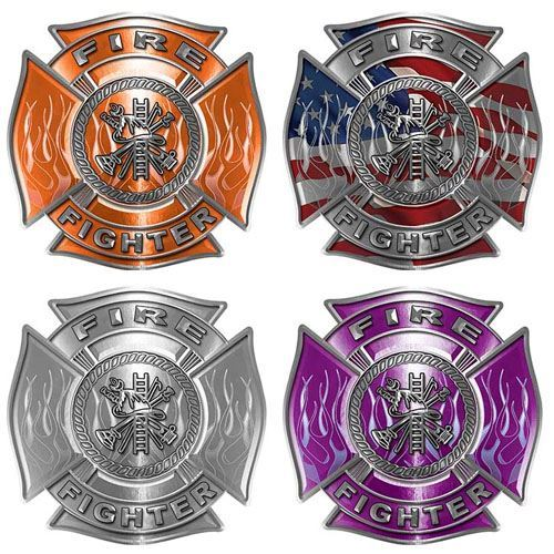 Firefighter Decals with Flames and Fire Scramble