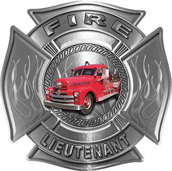 Fire Lieutenant Maltese Cross with Flames Fire Fighter Decal with Antique Fire Truck