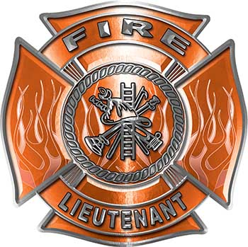 Fire Lieutenant Maltese Cross with Flames Fire Fighter Decal in Orange