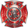Fire Lieutenant Maltese Cross with Flames Fire Fighter Decal in Red