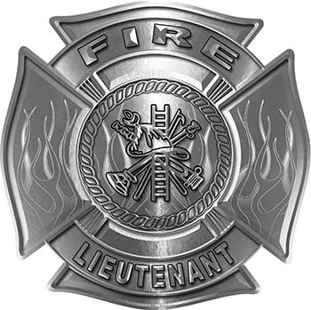 Fire Lieutenant Maltese Cross with Flames Fire Fighter Decal in Silver