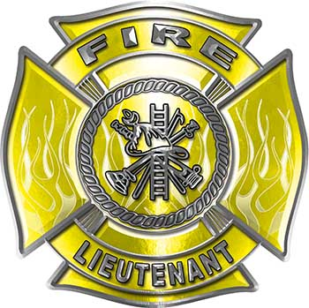 Fire Lieutenant Maltese Cross with Flames Fire Fighter Decal in Yellow