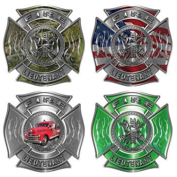Firefighter Lieutenant Maltese Cross Decals with Flames