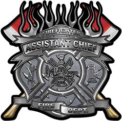 Fire Fighter Assistant Chief Maltese Cross Flaming Axe Decal Reflective in Diamond Plate
