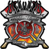 Fire Fighter Assistant Chief Maltese Cross Flaming Axe Decal Reflective in Real Fire