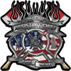 Fire Fighter Assistant Chief Maltese Cross Flaming Axe Decal Reflective with american flag
