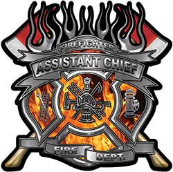 Fire Fighter Assistant Chief Maltese Cross Flaming Axe Decal Reflective in Inferno Flames