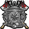Fire Fighter Assistant Chief Maltese Cross Flaming Axe Decal Reflective in Inferno Gray Flames