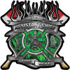 Fire Fighter Assistant Chief Maltese Cross Flaming Axe Decal Reflective in Inferno Green Flames