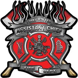 Fire Fighter Assistant Chief Maltese Cross Flaming Axe Decal Reflective in Red