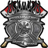 Fire Fighter Assistant Chief Maltese Cross Flaming Axe Decal Reflective in Silver