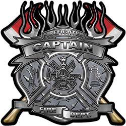 Fire Fighter Captain Maltese Cross Flaming Axe Decal Reflective in Diamond Plate