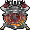 Fire Fighter Captain Maltese Cross Flaming Axe Decal Reflective in Real Fire