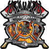 Fire Fighter Captain Maltese Cross Flaming Axe Decal Reflective in Inferno Flames