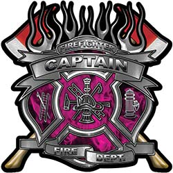 Fire Fighter Captain Maltese Cross Flaming Axe Decal Reflective in Inferno Pink Flames