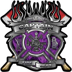 Fire Fighter Captain Maltese Cross Flaming Axe Decal Reflective in Inferno Purple Flames
