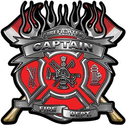 Fire Fighter Captain Maltese Cross Flaming Axe Decal Reflective in Red