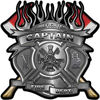 Fire Fighter Captain Maltese Cross Flaming Axe Decal Reflective in Silver