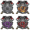 Firefighter Captain Maltese Cross Decals with Flaming Axe
