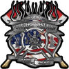 Fire Fighter Custom Maltese Cross Flaming Axe Decal Reflective with american flag