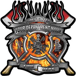 Fire Fighter Custom Maltese Cross Flaming Axe Decal Reflective in Inferno Flames