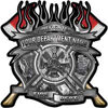 Fire Fighter Custom Maltese Cross Flaming Axe Decal Reflective in Inferno Gray Flames