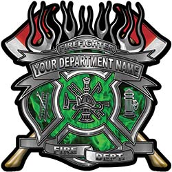 Fire Fighter Custom Maltese Cross Flaming Axe Decal Reflective in Inferno Green Flames