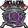 Fire Fighter Custom Maltese Cross Flaming Axe Decal Reflective in Inferno Purple Flames