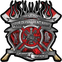Fire Fighter Custom Maltese Cross Flaming Axe Decal Reflective in Inferno Red Flames