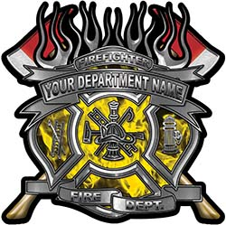 Fire Fighter Custom Maltese Cross Flaming Axe Decal Reflective in Inferno Yellow Flames