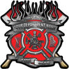Fire Fighter Custom Maltese Cross Flaming Axe Decal Reflective in Red