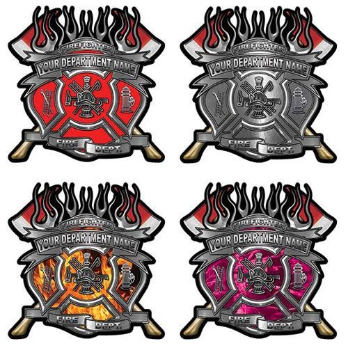 Custom Maltese Cross Firefighter Decals with Fire Scramble and Twin Axes