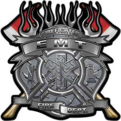 Fire Fighter emt Maltese Cross Flaming Axe Decal Reflective in Diamond Plate