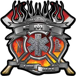 Fire Fighter emt Maltese Cross Flaming Axe Decal Reflective in Real Fire