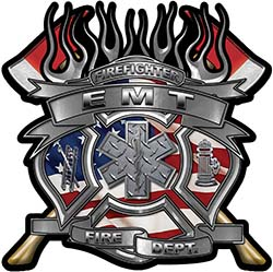 Fire Fighter emt Maltese Cross Flaming Axe Decal Reflective with american flag