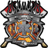 Fire Fighter emt Maltese Cross Flaming Axe Decal Reflective in Inferno Flames