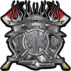 Fire Fighter emt Maltese Cross Flaming Axe Decal Reflective in Inferno Gray Flames