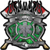 Fire Fighter emt Maltese Cross Flaming Axe Decal Reflective in Inferno Green Flames