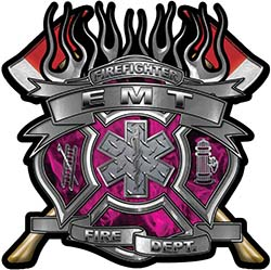 Fire Fighter emt Maltese Cross Flaming Axe Decal Reflective in Inferno Pink Flames