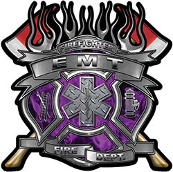 Fire Fighter emt Maltese Cross Flaming Axe Decal Reflective in Inferno Purple Flames