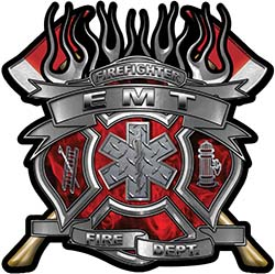 Fire Fighter emt Maltese Cross Flaming Axe Decal Reflective in Inferno Red Flames