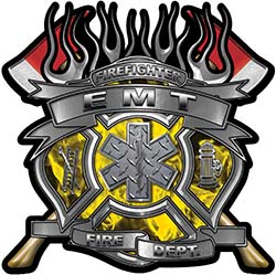 Fire Fighter emt Maltese Cross Flaming Axe Decal Reflective in Inferno Yellow Flames