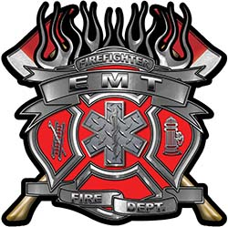 Fire Fighter emt Maltese Cross Flaming Axe Decal Reflective in Red