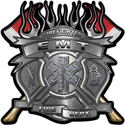 Fire Fighter emt Maltese Cross Flaming Axe Decal Reflective in Silver